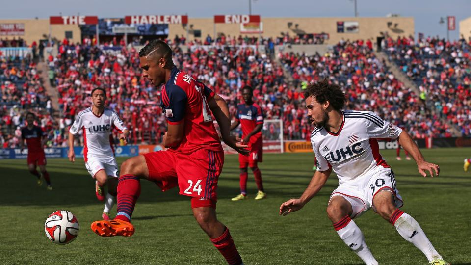 Quincy Amarikwa of the Chicago Fire controls the ball during an MLS match at Toyota Park on April 19, 2014 in Bridgeview, Illinois.