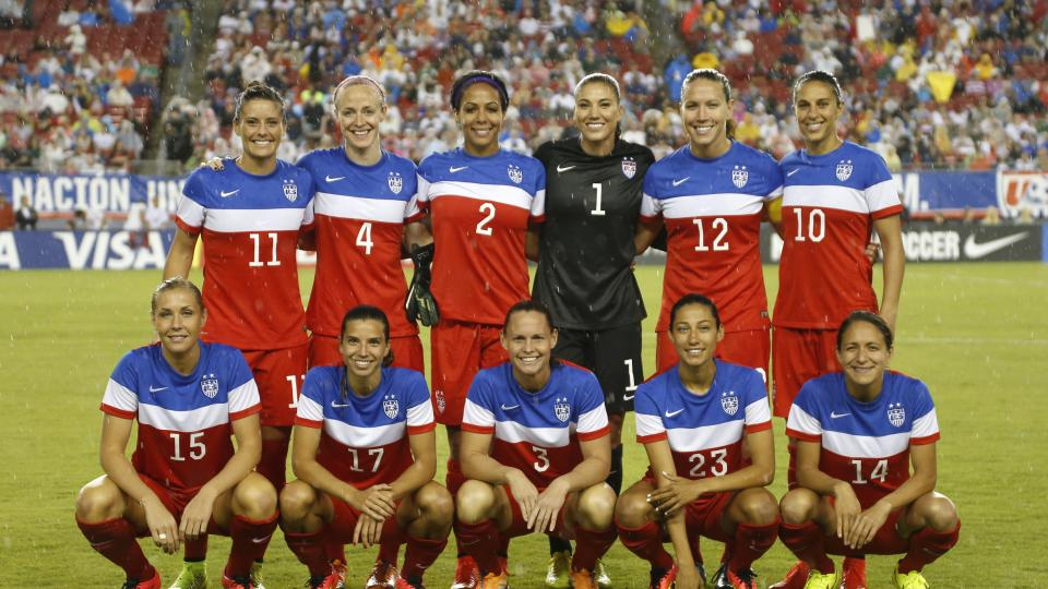 The United States starting team poses for a photo before the start of a women's friendly soccer match against France on June 14, 2014 at Raymond James Stadium in Tampa, Florida.