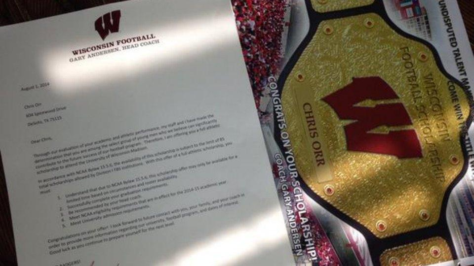 Wisconsin football is sending photoshopped WWE championship belts with scholarship offers
