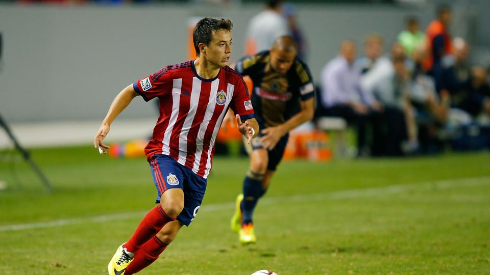 Erick Torres of Chivas USA looks to cross the ball in the second half at StubHub Center on May 31, 2014 in Los Angeles, California.