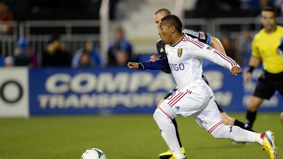 Joao Plata of Real Salt Lake dribbles the ball up field against the San Jose Earthquakes at Buck Shaw Stadium on March 3, 2013 in Santa Clara, California.