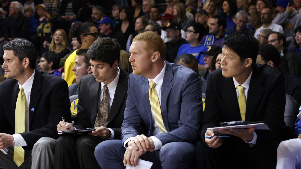 Former Warriors assistant Brian Scalabrine, middle, took a shot at former Warriors head coach Mark Jackson for not having high enough expectations.