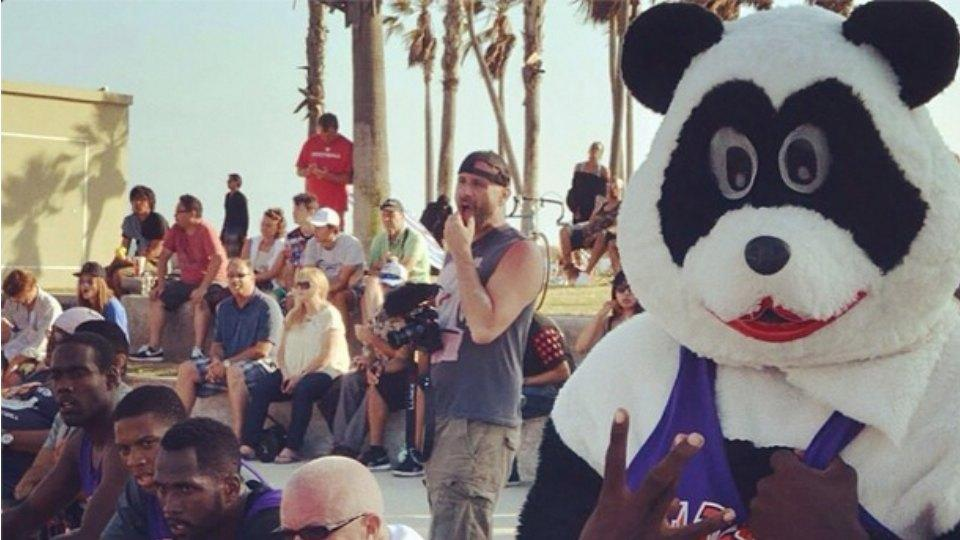 Metta World Peace dressed up as his friend, the panda, for a street league game