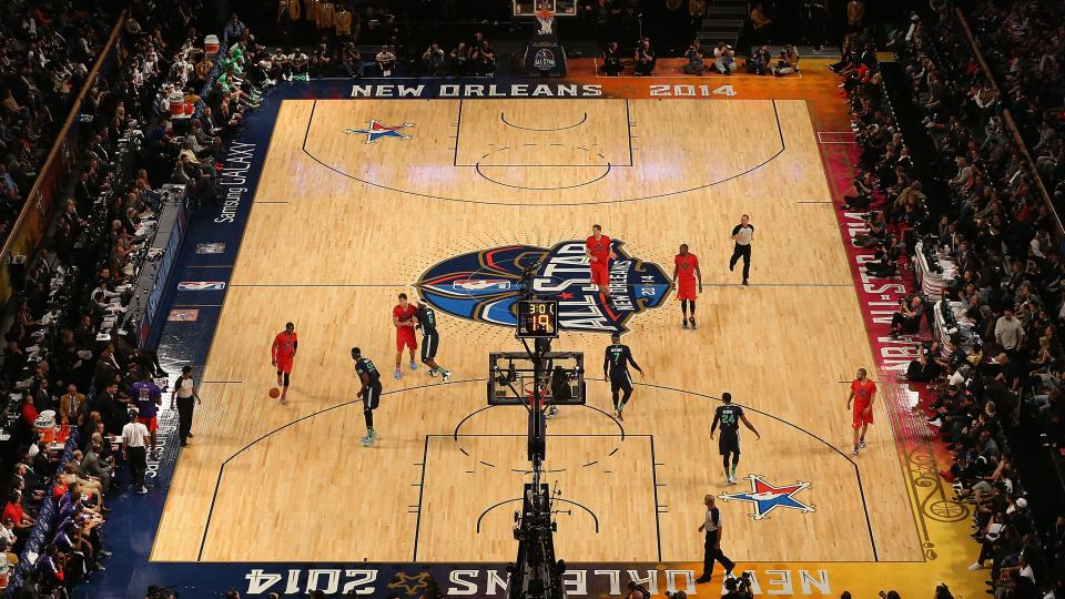 View of the action between the Eastern Conference and Western Conference during 2014 NBA All-Star game at the Smoothie King Center on February 16, 2014 in New Orleans, Louisiana.