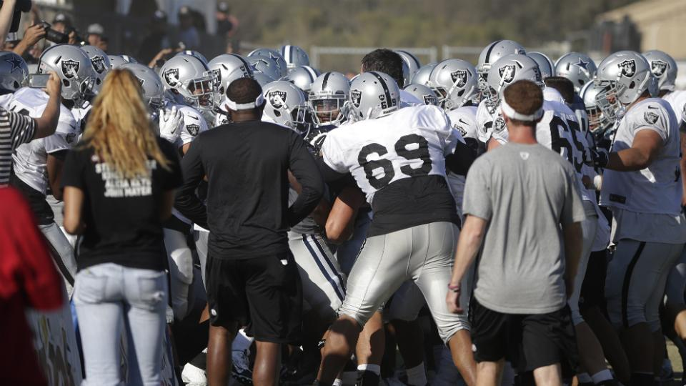Cowboys and Raiders players brawl at joint practice, fan gets involved