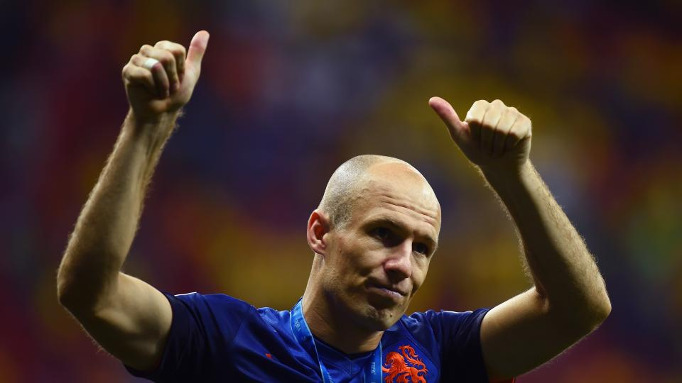 Arjen Robben of the Netherlands acknowledges the fans after defeating Brazil 3-0 in the 2014 FIFA World Cup Brazil Third Place Playoff match between Brazil and the Netherlands at Estadio Nacional on July 12, 2014 in Brasilia, Brazil.