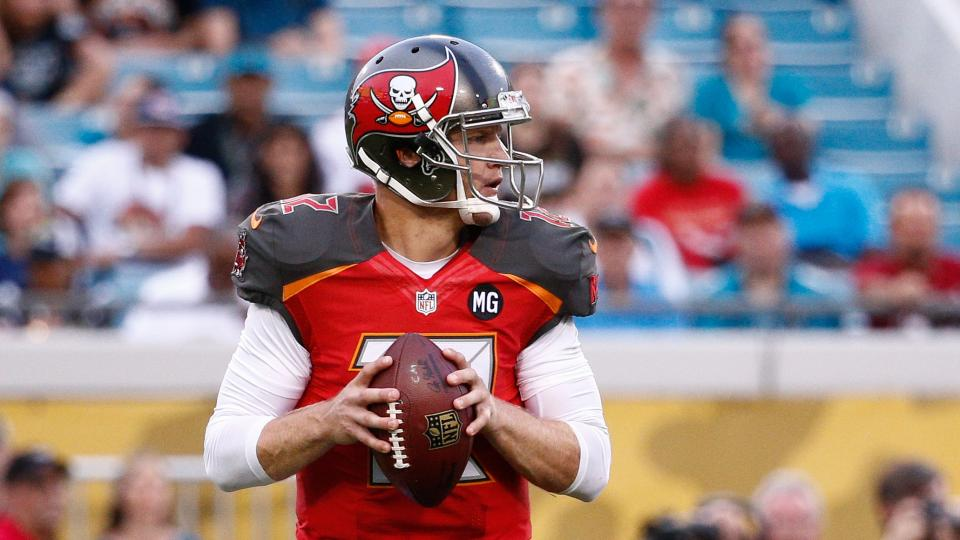 Josh McCown of the Tampa Bay Buccaneers drops back to pass during the first quarter of the preseason game against the Jacksonville Jaguars at Everbank Field on August 8, 2014 in Jacksonville, Florida.