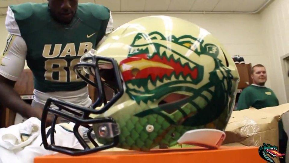 UAB Blazers show off new dragon helmets