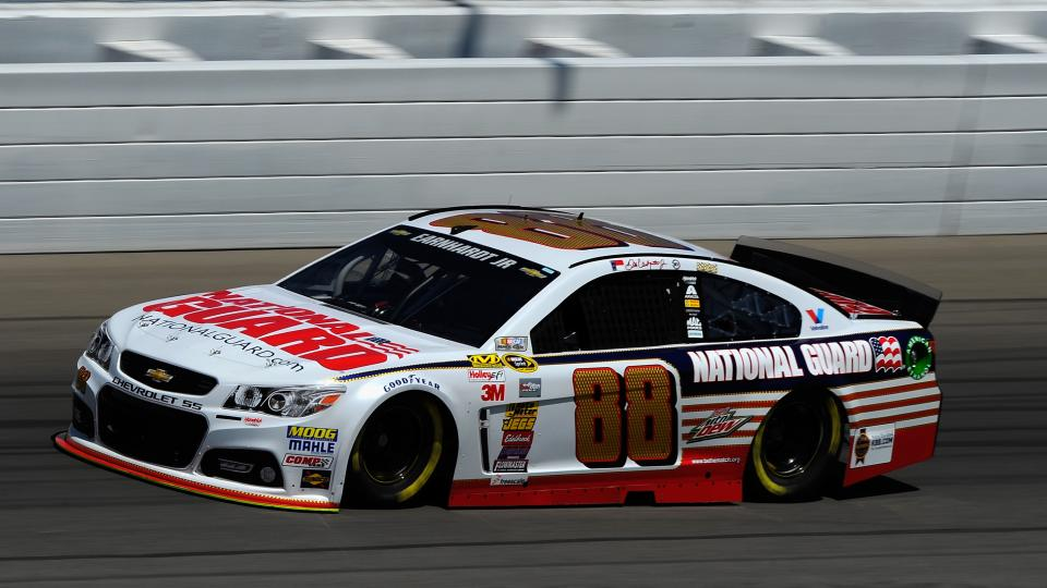 Dale Earnhardt Jr., driver of the #88 National Guard Chevrolet, practices for the NASCAR Sprint Cup Series Pure Michigan 400 at Michigan International Speedway on August 15, 2014 in Brooklyn, Michigan.