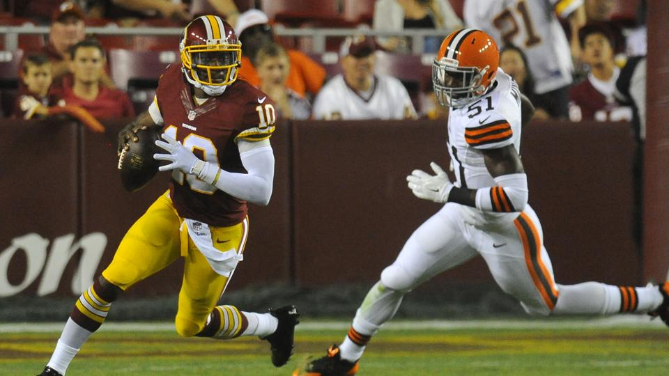 Robert Griffin III bruises thigh, says avoiding hits is a 'work in progress'