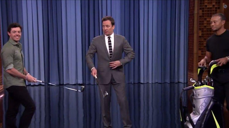 Jimmy Fallon took on Rory McIlroy in a chipping contest with Tiger Woods acting as his caddy