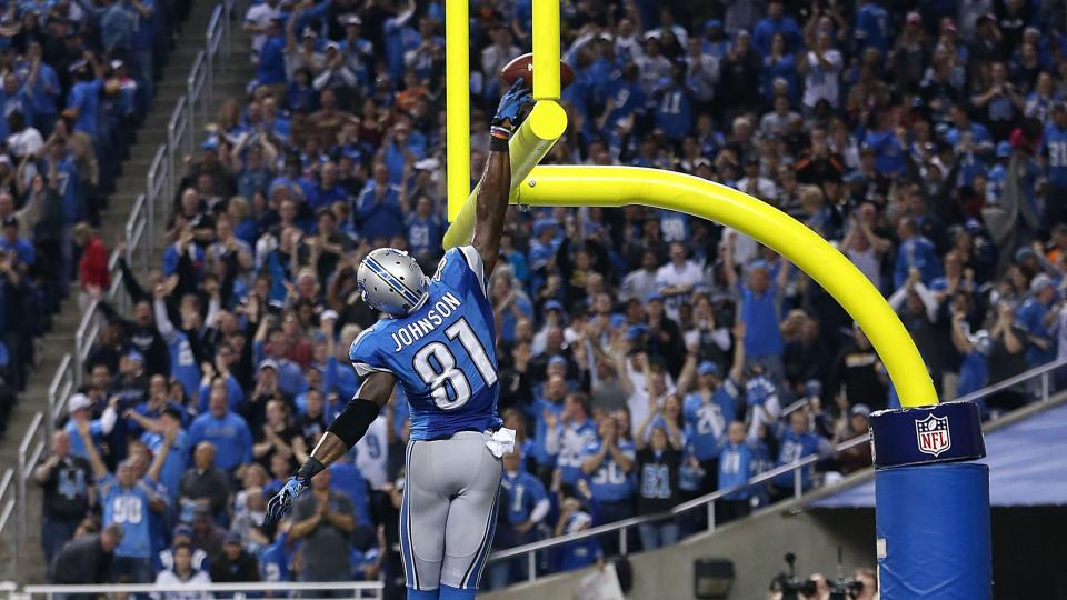 Lions receiver Calvin Johnson will not dunk over goalposts this season