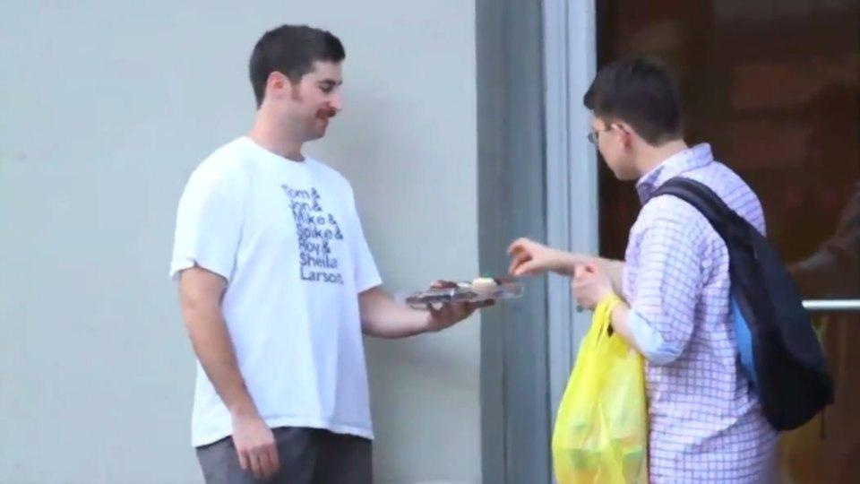 Watch what happens when you hand out free desserts in front of a gym