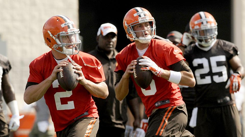 How long will Brian Hoyer (right) be able to keep Johnny Manziel off the field?