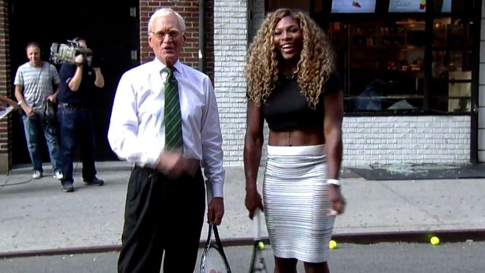 Serena Williams smashes a deli's front window with a forehand on Letterman