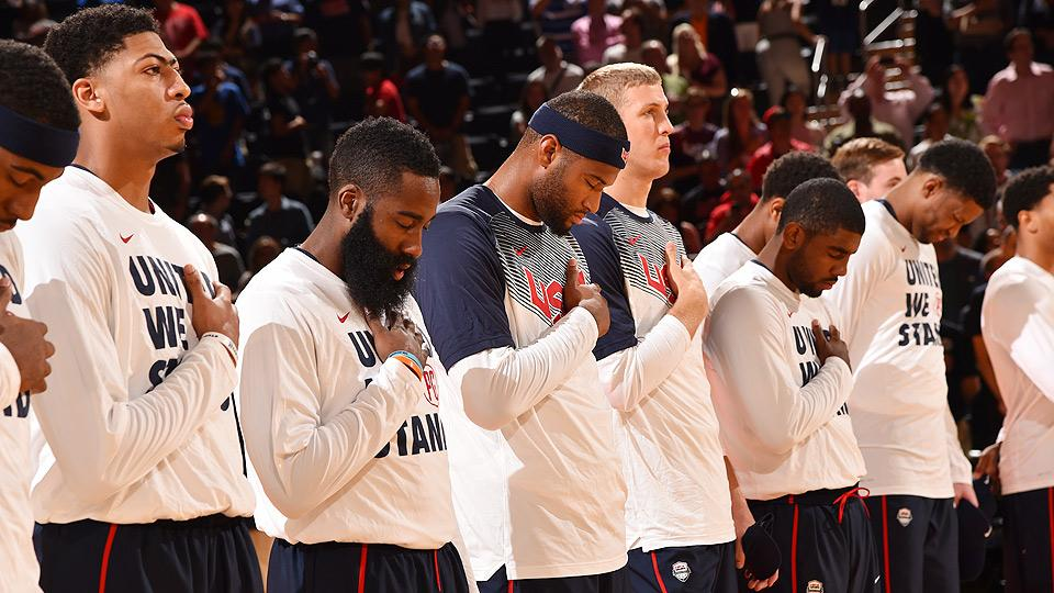 Anthony Davis and James Harden, shown second and third from the left, headline a USA roster that includes five players who play power forward or center.