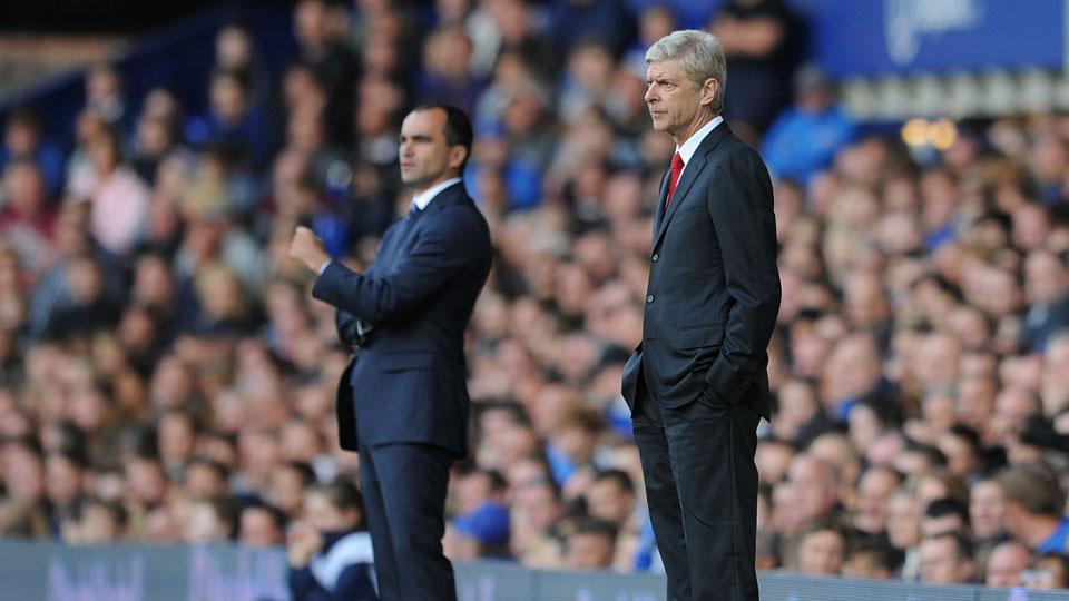 Roberto Martinez and Arsene Wenger engaged in a tactical battle in the clubs' meeting in the EPL on Saturday.