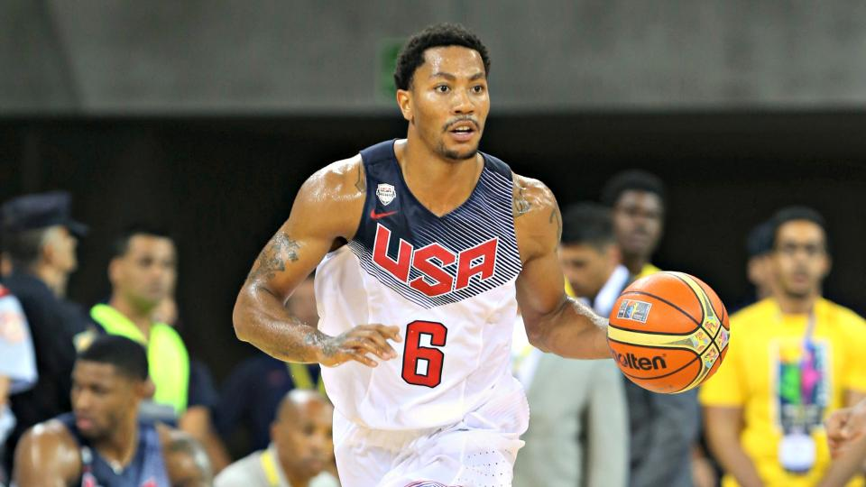 Rose struggles, Davis shines in Team USA's exhibition victory over Slovenia