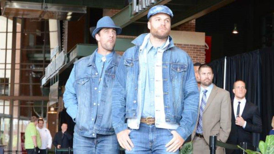 Aaron Rodgers wore a ton of denim to the Packers welcome back luncheon