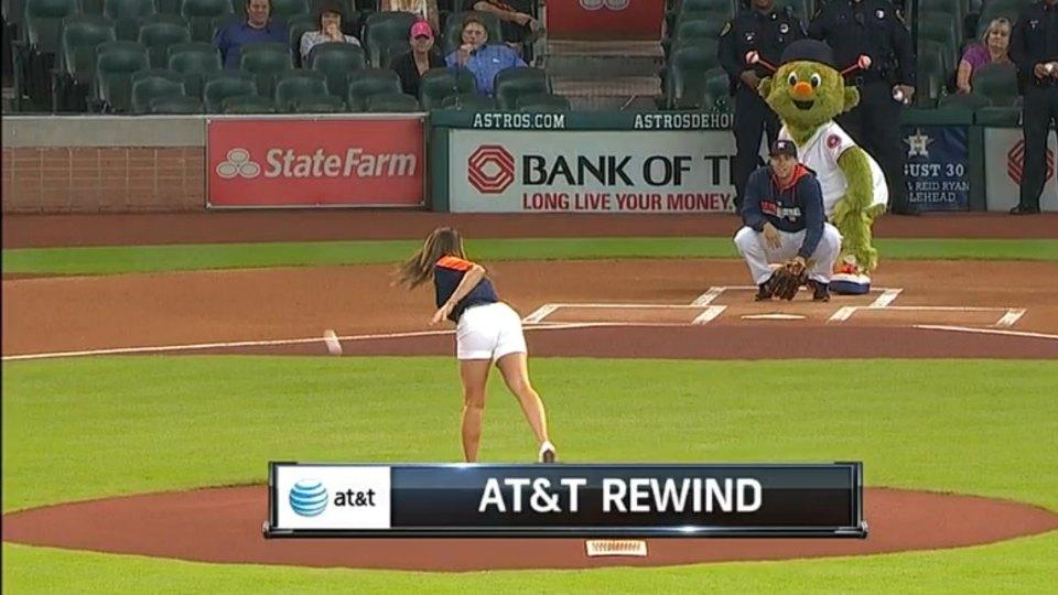 Astros fan throws the season's worst first pitch