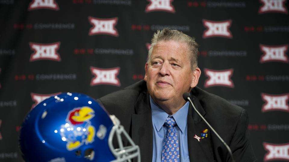 Head coach Charlie Weis and Kansas look to bounce back from a 1-8 conference record last year.