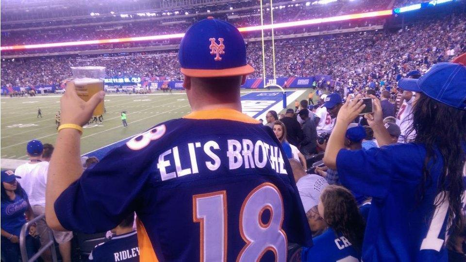 Giants' fan takes a shot at Peyton Manning with 'Eli's Brother' jersey