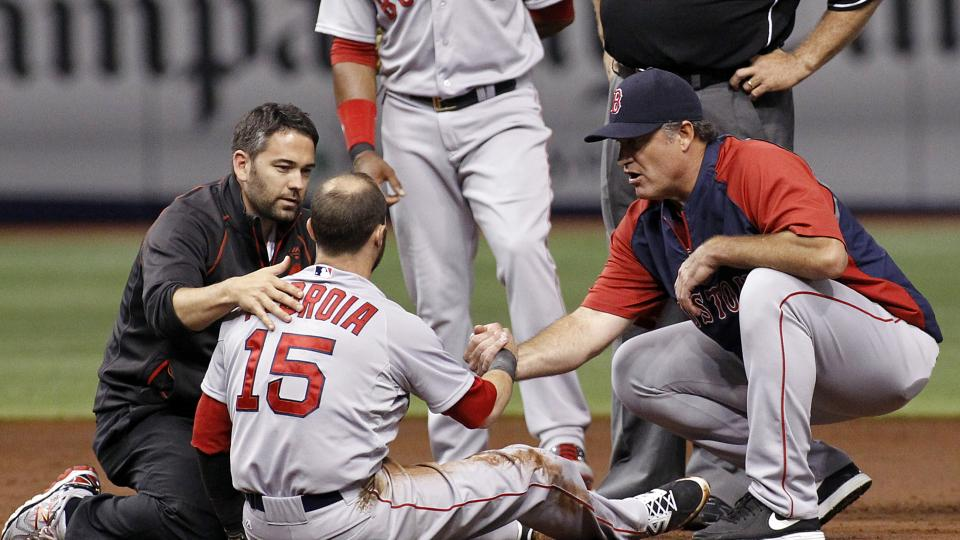 Red Sox 2B Dustin Pedroia exits early with apparent head injury