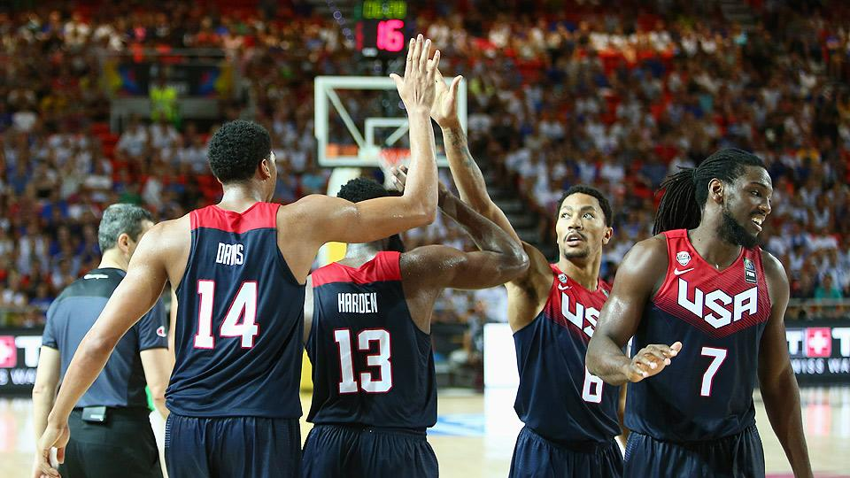 Anthony Davis (14) and Kenneth Faried (7) combined for 41 points and 14 rebounds in Team USA's 98-77 victory over Turkey.