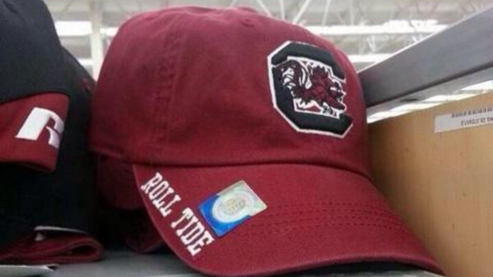 South Carolina hat says 'Roll Tide' on the brim, appeals to no one