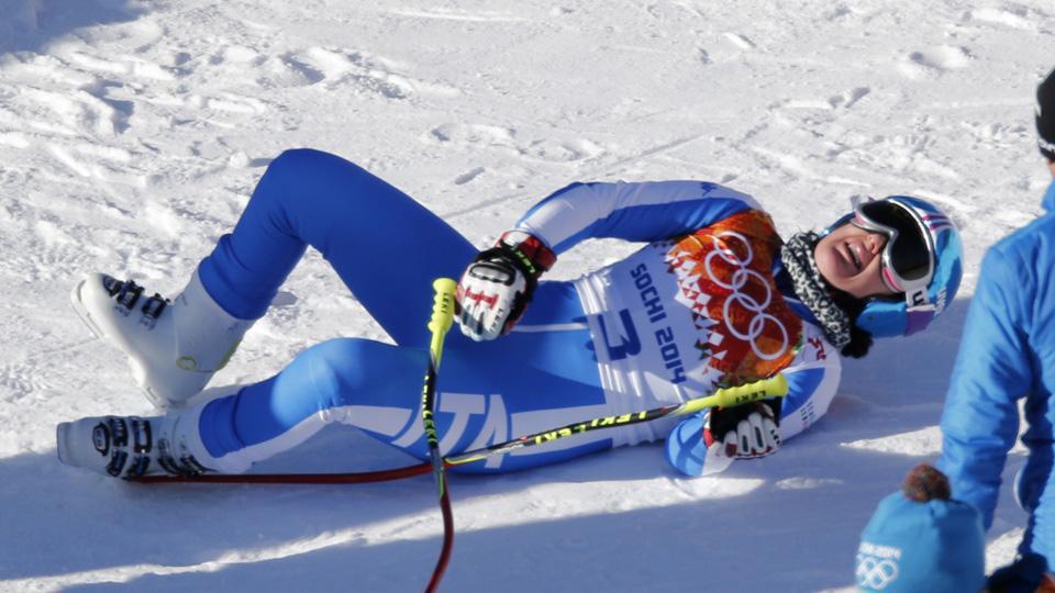 Training runs were postponed shortly after Daniela Merighetti of Italy hurt both knees while landing.