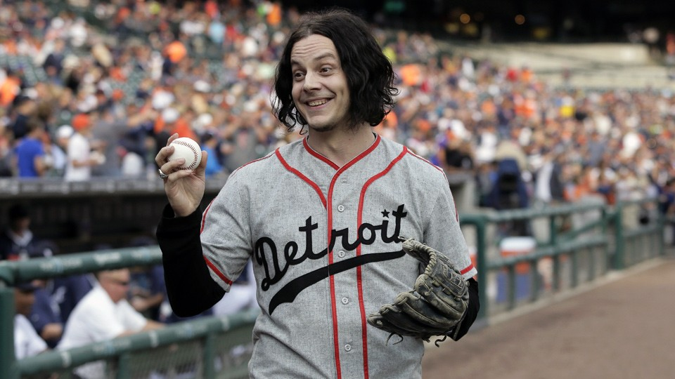 Jack White throws out first pitch at Tigers game, doesn't look miserable