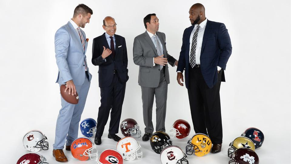 Paul Finebaum (second from left) will join Tim Tebow, Joe Tessitore and Marcus Spears on ESPN's new SEC Nation.