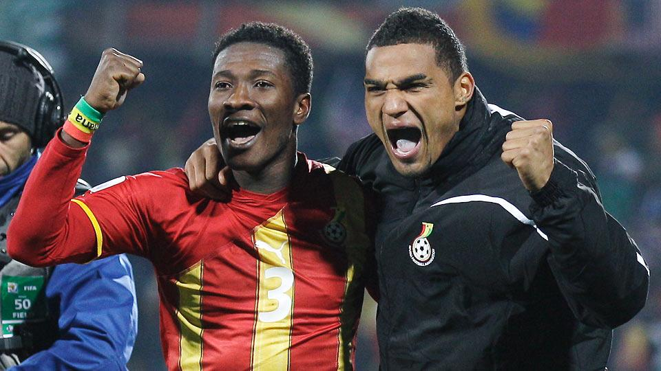 Asamoah Gyan, left, and Kevin-Prince Boateng, who scored the goals that lifted Ghana to a 2-1 round of 16 win over the USA in the 2010 World Cup, return in 2014.