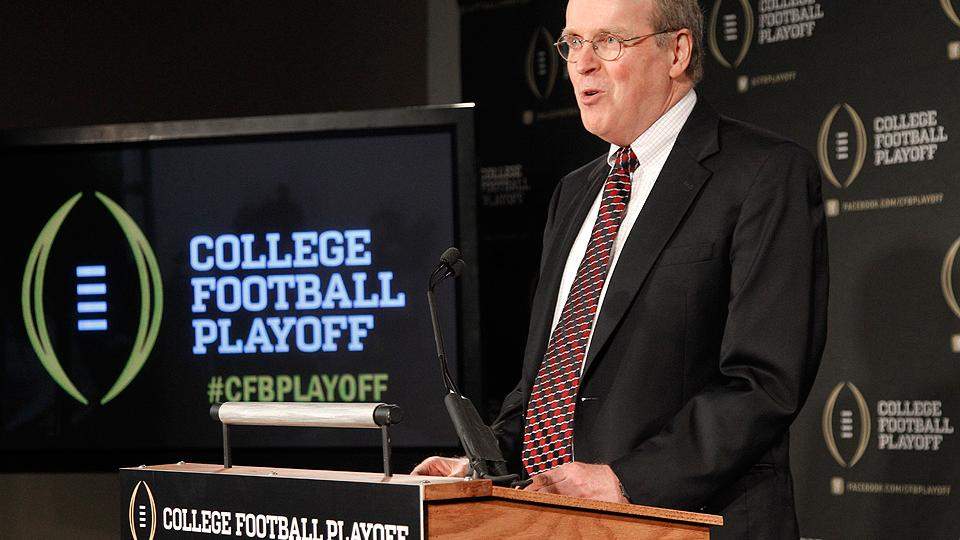 College Football Playoff executive Bill Hancock announced new committee procedures on Wednesday.