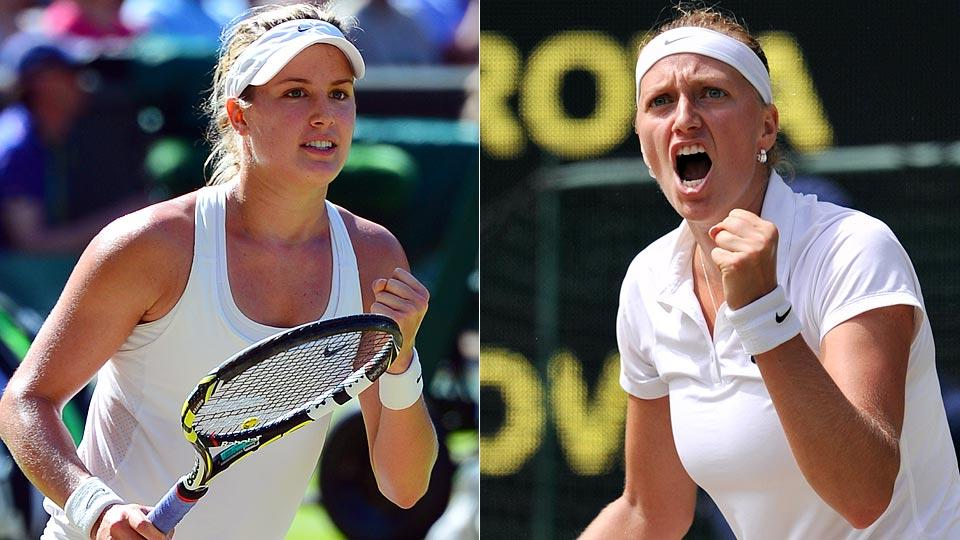 Eugenie Bouchard (left) and Petra Kvitova will play for the Wimbledon title on Saturday.