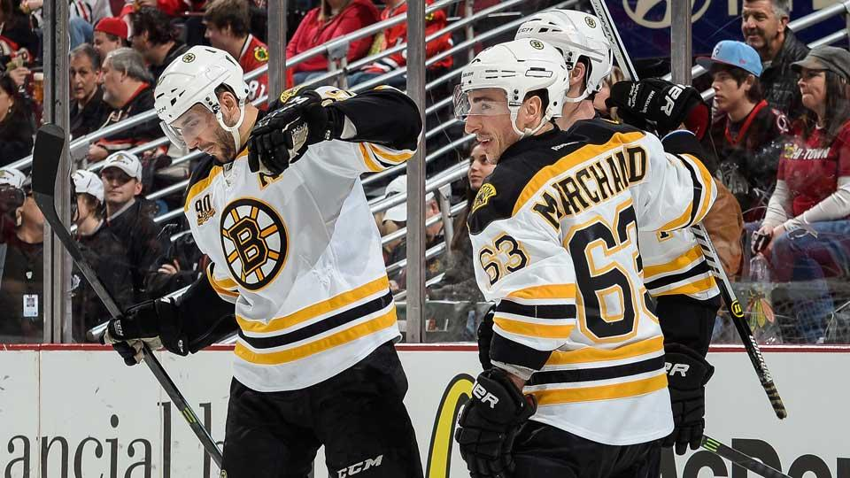Who knew that Boston superpest Brad Marchand (63) could carry a tune or that Patrice Bergeron (left) could wax poetic?