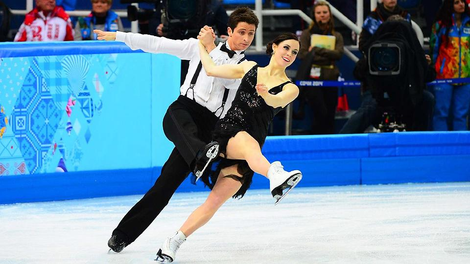 Canada's Tessa Virtue and Scott Moir, the defending Olympic ice dance champions, trail the Americans heading into today's free skate.