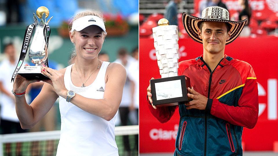 Caroline Wozniacki and Bernard Tomic each won their first title of the season on Sunday.