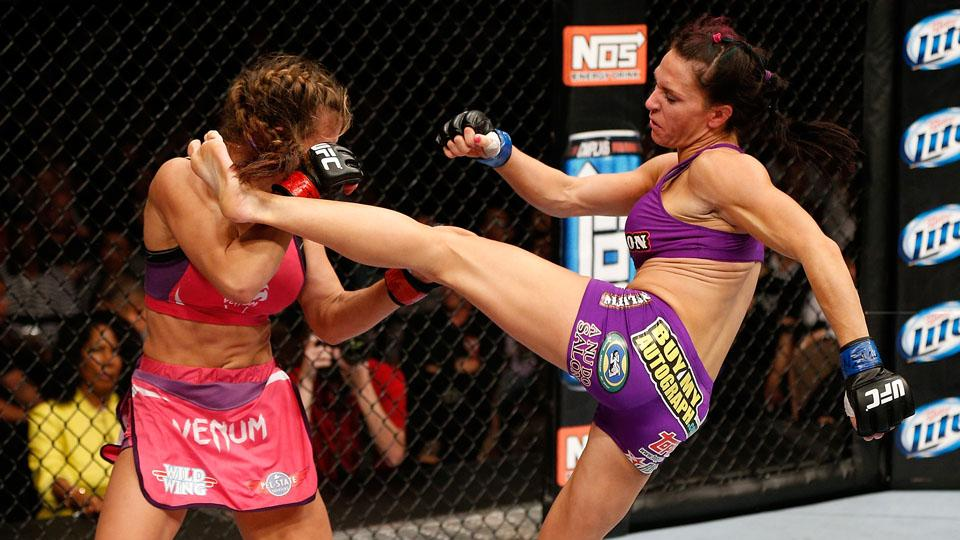 Cat Zingano (right) will return to action after a devastating ACL injury.