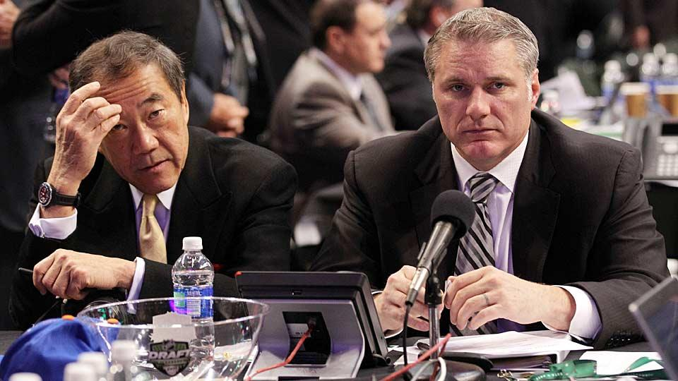 Charles Wang (with GM Garth Snow, right) will be able to (perhaps) enjoy the Islanders' first season in Brooklyn before he fully hands the reins to new owners.