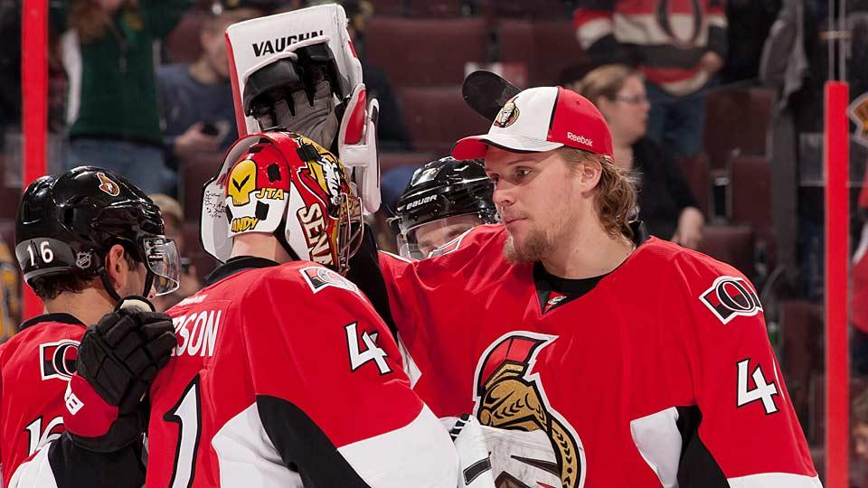 Not so fast: The ascension of Robin Lehner (right) to be the Senators' No. 1 goalie is now in doubt because Ottawa has given Craig Anderson (41) a lengthy extension.