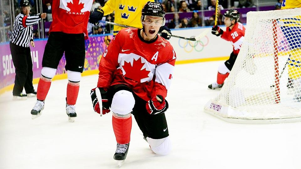 Jonathan Toews' first period goal Sunday propelled Canada to a 3-0 win over Sweden and its third hockey gold medal since NHL players began participating.