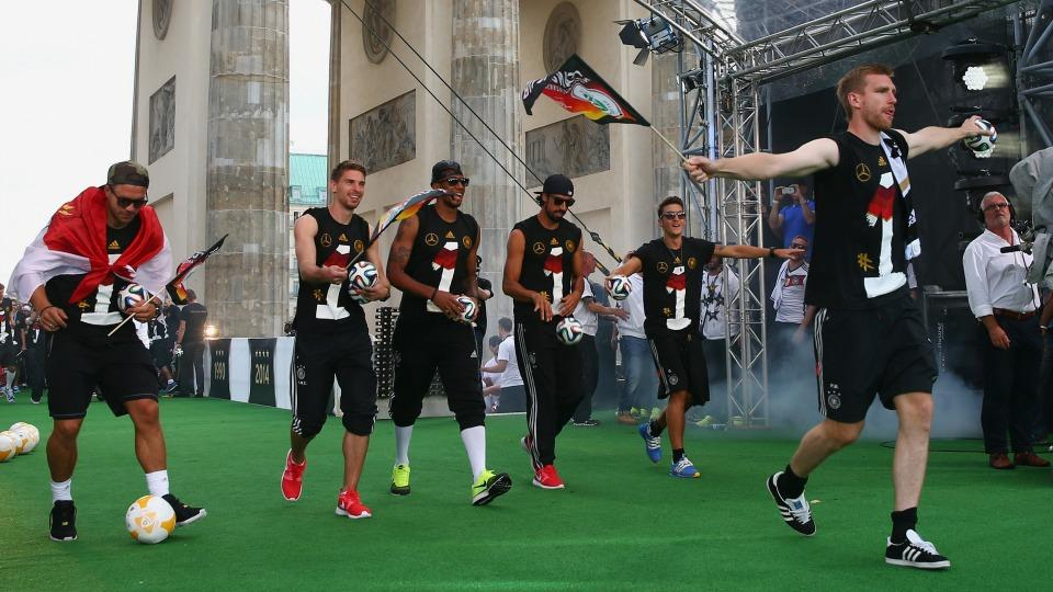 The German soccer team had a tremendous unveiling of the World Cup trophy in Berlin