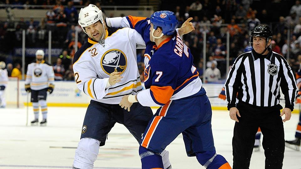 The ability of John Scott (left) to knock the blocks off other players will be of dubious help in knocking off the Western Conference's top teams.