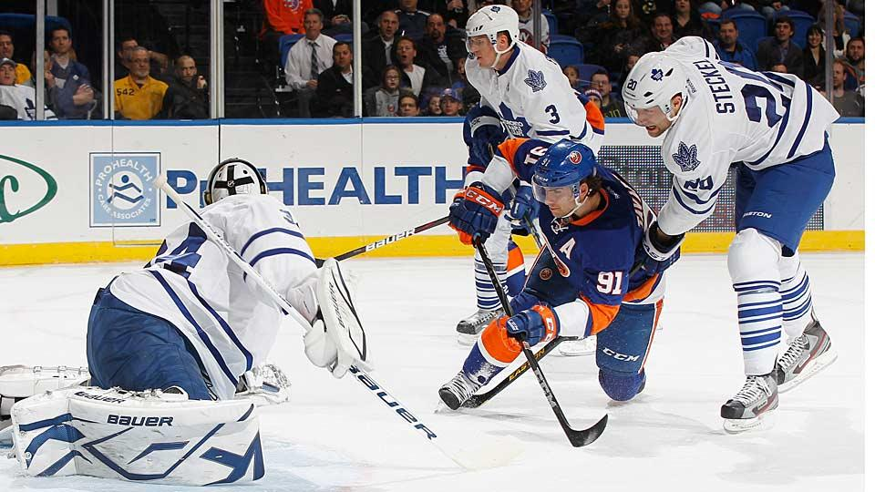 The Maple Leafs have long coveted Islanders center John Tavares (91), who grew up near Toronto, and they'd surely love to have him come home to play for them.