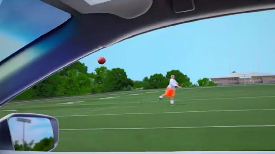 Johnny Manziel hits stunt driver going 25 mph in the face with a football