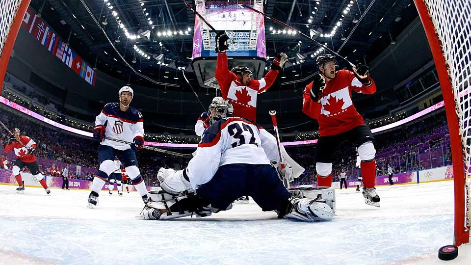 Goalie Jonathan Quick played valiantly, but all it took was a deflected goal by Jamie Benn (center) to beat Team USA.