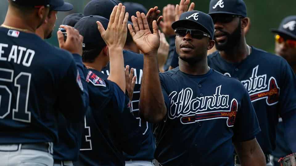 Justin Upton (center) and the Braves went 6-1 last week, including their first four-game sweep in Philadelphia since 1964.