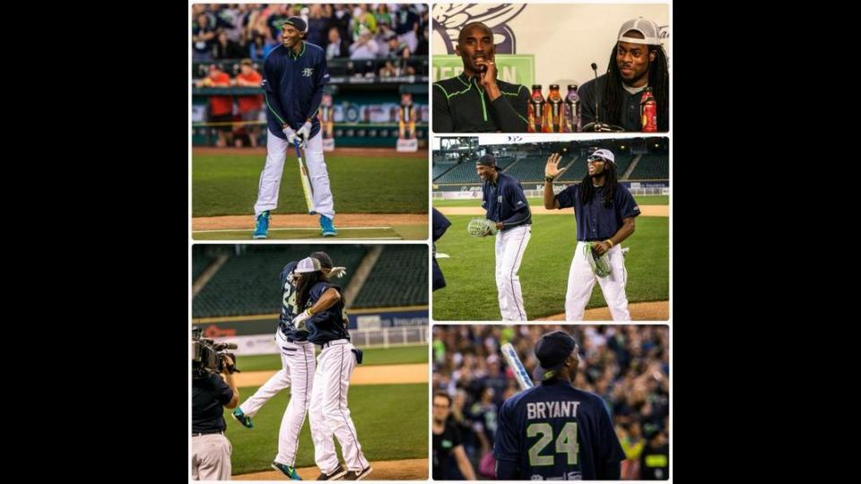 Kobe Bryant crushed a lefty home run in Richard Sherman's charity softball game