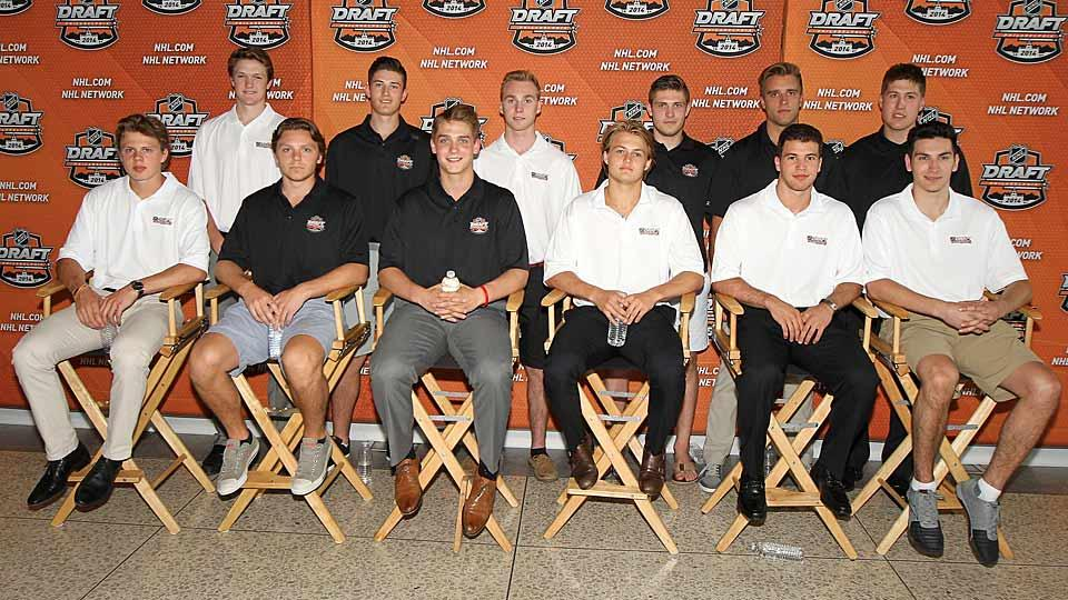 The cream of the 2014 NHL Draft crop: (back row, left to right) Thatcher Demko, Brendan Perlini, Sam Bennett, Leon Draisaitl, Aaron Ekblad, Nicholas Ritchie; (front row, left to right) Kasperi Kapanen, Sam Reinhart, Jake Virtanen, William Nylander, Anthony DeAngelo, and Michael Dal Colle